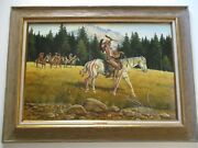 Jerry Crandall Oil Painting Western Native American Indian Chief Landscape Large