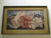 Vintage Oil Painting Signed Large Regionalism Impressionism City Village 1950and039s