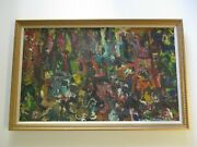 Large Oil Painting Abstract Expressionist Modernist Klebanoff Chunky Colorful