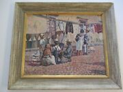 Antique Oil Painting Original 1930and039s Impressionist Mexico Mexican San Miguel Old