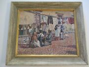 Antique Oil Painting Original 1930's Impressionist Mexico Mexican San Miguel Old