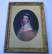 Antique Early American Portrait Painting Estate Heirloom Pretty Woman Female