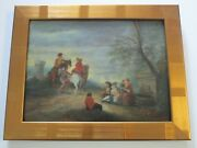 Antique 18th To 19th Century Painting On Wood Old Master Landscape Figures
