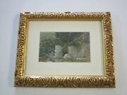 Antique 19th To 20th Century Mountain Side Landscape View Rooftops Village City