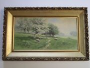 Finest Carl Philipp Weber Painting Antique Early American Landscape W Sheep Barn