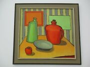 Large Vintage Tarmo Pasto Oil Painting Still Life Cubism Modernist Abstract Art