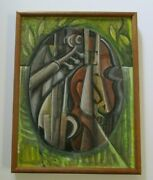 Mid Century Abstract Painting Cubist Cubism Modernism Instruments Music Signed