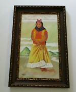 Gustavo Montoya Style Painting Portrait Signed Romano Vintage Mexican Girl