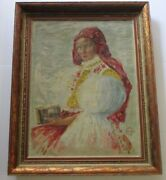 Gorgeous Antique Portrait Painting Religious Female Model Holding Bible 1940and039s