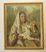 Iconic Portrait Painting Impressionism Mystery Artists Signed Woman Lamb Vintage