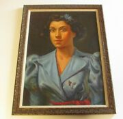 Irving Weiner Painting 1950and039s Woman Original Pretty Female Model Mid Century