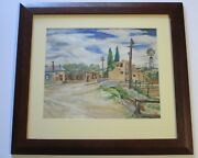 John Stenvall Painting Antique Vintage New Mexico Town Regionalist American Rare