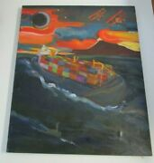 Large Modernist Painting Planes Sunset Expressionism Ship Sea Industrial Eclipse