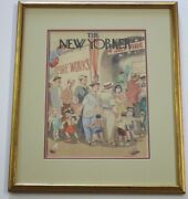 New Yorker Painting Original Illustration Americana 4th Of July Fireworks Wpa