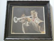 Louis Armstrong Painting Antique Black Americana Musician Portrait Signed Mcgaw