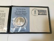 1970 Sterling Silver Proof Un 25th Anniversary Medal And First Day Of Issue Stamp