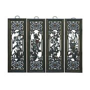 Chinese Color Painted 4 Seasons Flower Wooden Wall 4 Panels Set Cs6057