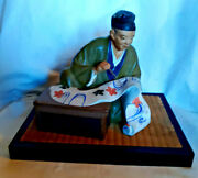 Vintage 7.5 Seated Japanese Artist Wbrush And Scroll On Woven Platform Lateand03950s