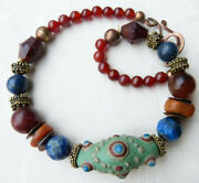 Antique Moroccan Genuine Amber, Lapis W. Chinese Warring States Bead Necklace