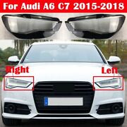 For Audi A6 C7 2015 - 2018 Front Headlight Glass Cover Pair Headlamp Lens Cover