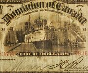 1902 Dominion Of Canada 4. Extremely Rare Banknote. Boville Signed.