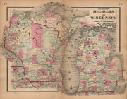 J. H. Coltonand039s Michigan And Wisconsin 1864 Old Antique Vintage Map Plan Chart