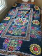 Afghan Pakistan Russian Embroidered Fabric Hand Made Cover Blanket Wall Thick