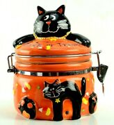 Halloween Candy Canister Jar Black Cat Candy Corn 8 Tall Trick Or Treat Ceramic