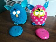 Furby Electronic Toy Hot Pink With White Polka Dots And Blue 2012 Hasbro Works