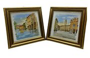 Hand Painted Italy Tiles Piazza Del Signoria And Buranelli Canal Artist Signed