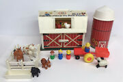 Vintage 60and039s Fisher Price Little People Play Family Farm Barn Animals Silo 915