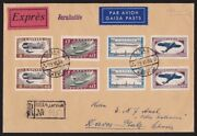 Latvia 1933 Airmen Fund Planes Perf And Imperf Sets Registered Cover