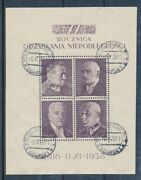 Poland 1938 Independence Anniversary Souvenir Sheet Used In Port Gdansk =danzig