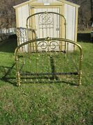 Antique Ornate Heavy Solid Shiny Brass Bed Full Double W/rails Beautiful