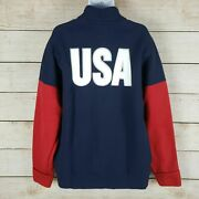 Nwt Adidas Mens Usa Volleyball Warm Up Navy Blue Polo Yeezy Jacket Large/l