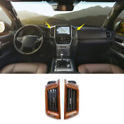 Wood Grain Middle Console Air Outlet Vent Trim For Toyota Land Cruiser 2016-2021