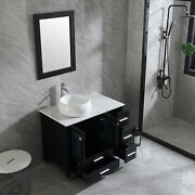 36''inch Black Bathroom Vanity Single Cabinet Bowl Sink With Faucet Mirror Combo