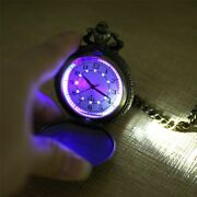 Quartz Pocket Watch With Led Light Chain Steampunk Pendant Vintage Watches Gift