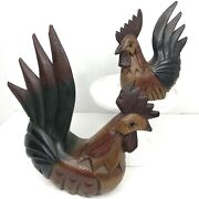 Roosters Chicken Hand Carved Wood Set Of 2 Primitive Vintage Farm Animals