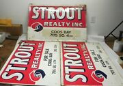 Vintage 1970s-80s Large Retro Strout Reality Metal Signs From Coos Bay Oregon
