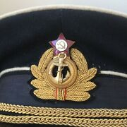 Soviet Russian Navy Officers 1950and039s Visor Hat Cap Wwii Type