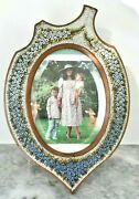 Large Antique Victorian Grand Tour Micro Mosaic Italy Glass Tile Picture Frame