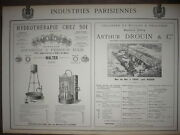 Large Advert Orig. 19e Hydrotherapy Walter Paris Oil Mill D'ivry Drouin