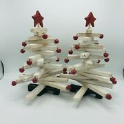 2 Department 56 Puzzle Bell Christmas Trees Primitive Folk 14 Tall