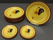 Lot 6 Stangl Rooster 10 Dinner Plates + 2 6 Bread And Butter Plates 8pc Total