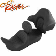 Driver Passenger Pillion Seat And Backrest Fit For Harley Touring Road King 14-21
