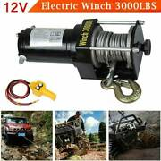 Ridgeyard Portable 3000lbs Electric Winch Steel Cable Wire Rope Atv Boat 12v