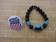 Union Pacific Railroad 1.5 Button.....train Turquoise And Glass 1.5 Bead...58