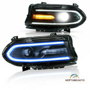 Headlights Led Drl Music Rhythm Color Projector For 15-20 Dodge Charger Rh Andlh