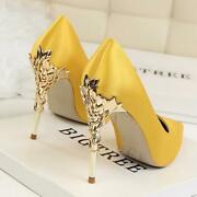 Metal Carved Thin Heel High Heels Pumps Women Shoes 2018 Sexy Pointed Toe Ladies